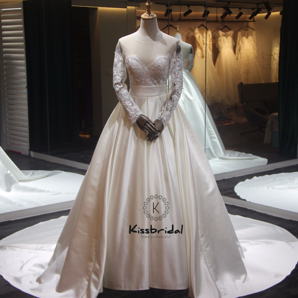Elegant Silk Wedding Dresses With Sleeves: Stunning Elegant Satin Wedding Dress Cheap Sheer Lace Long