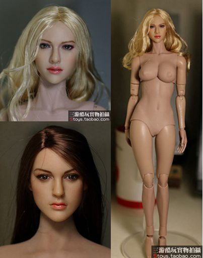 "1/6 scale figure head shape for 12"" Action figure doll Female head Blond or Brown hair for figure, or it can be choose with body"