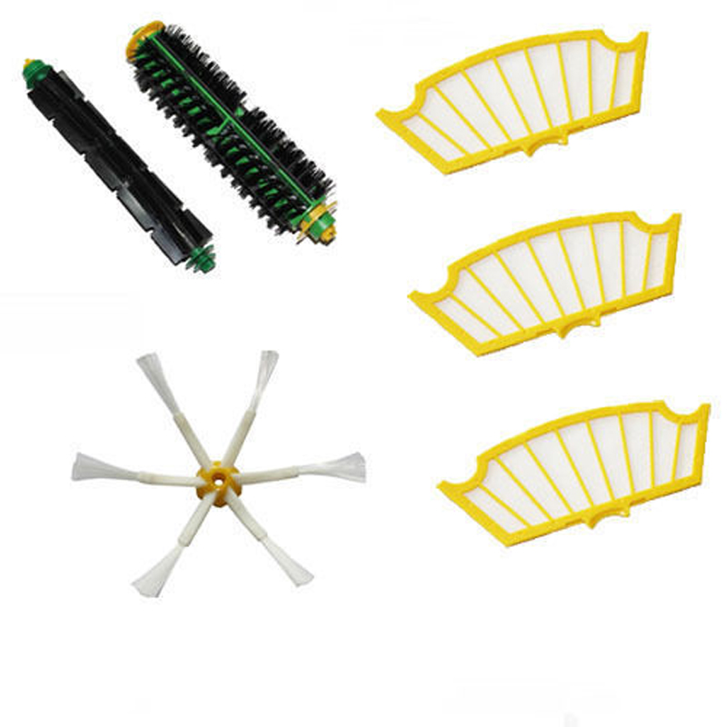 6PC Side Brush Filters 6 Armed Mini Kit for iRobot Roomba 500 Series Free Shipping ntnt free shipping side brush filters 6 armed mini kit for irobot roomba 500 series