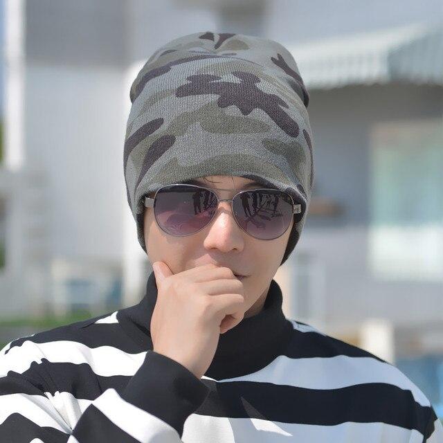 Новые Горячие Зимние Шапочки Сплошной Цвет Шляпа Камуфляж Теплый Катание На Лыжах шапочка Череп Вязаная Шапка Вязаные Шапки Touca Gorro Крышки для мужчины