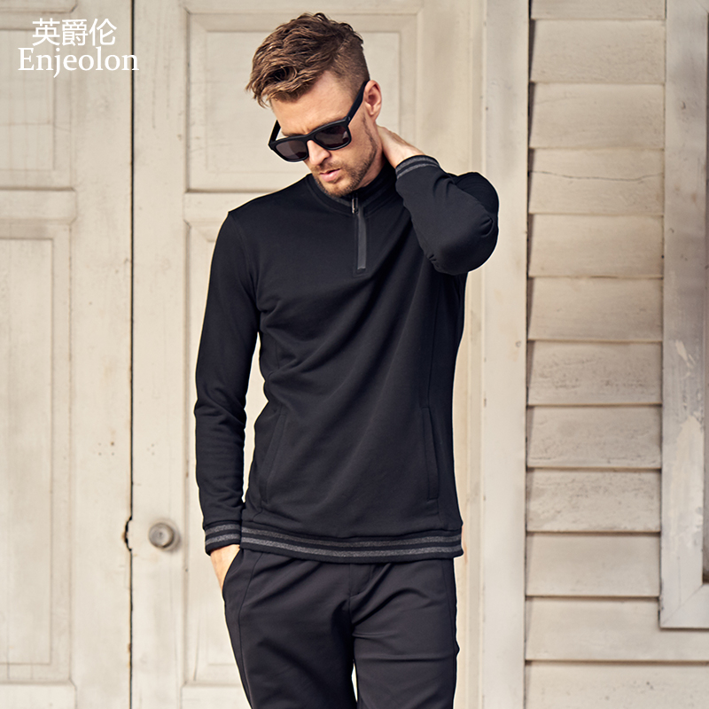 Enjeolon top brand fall Long Sleeve stand collar Sweatshirt Men cotton clothes Black Sweatshirt Men solid Clothing WY120