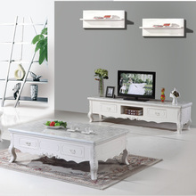 Continental carved marble coffee table wood TV cabinet combination package new antique living room color teasideend