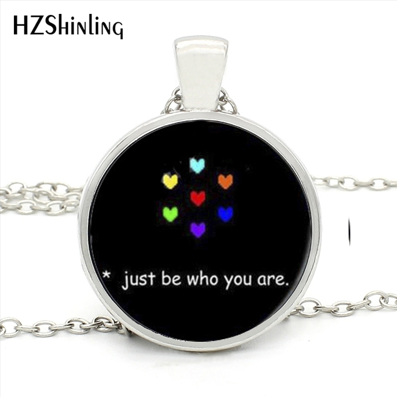 HZShinling HZ1- MINI-0019 Hot Undertale Rainbow Heart Necklace Just be who you are Pendant Statement Necklace Women Men Jewelry