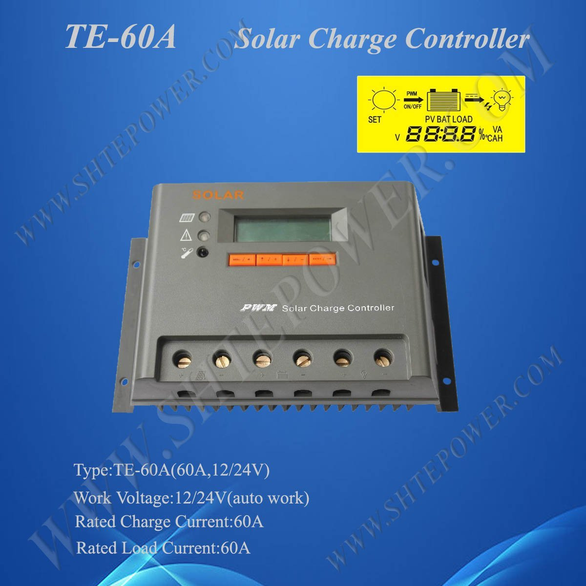 12v/24v auto work Solar Panel Voltage Regulator Controller 60A, 2 Years Warranty, CE & ROHS Approved цена