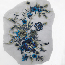 Embroidery Patches Sticker Lace Bridal Beaded Flowers Applique Evening Dress Jeans Gorgeous Shiny Sewing