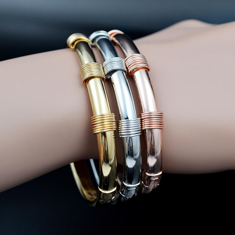 Sunny Jewelry Classic Jewelry Dubai Copper Open Cuff Bangles Bracelets Lock Shape For Women Girls Daily Wear Jewelry Findings