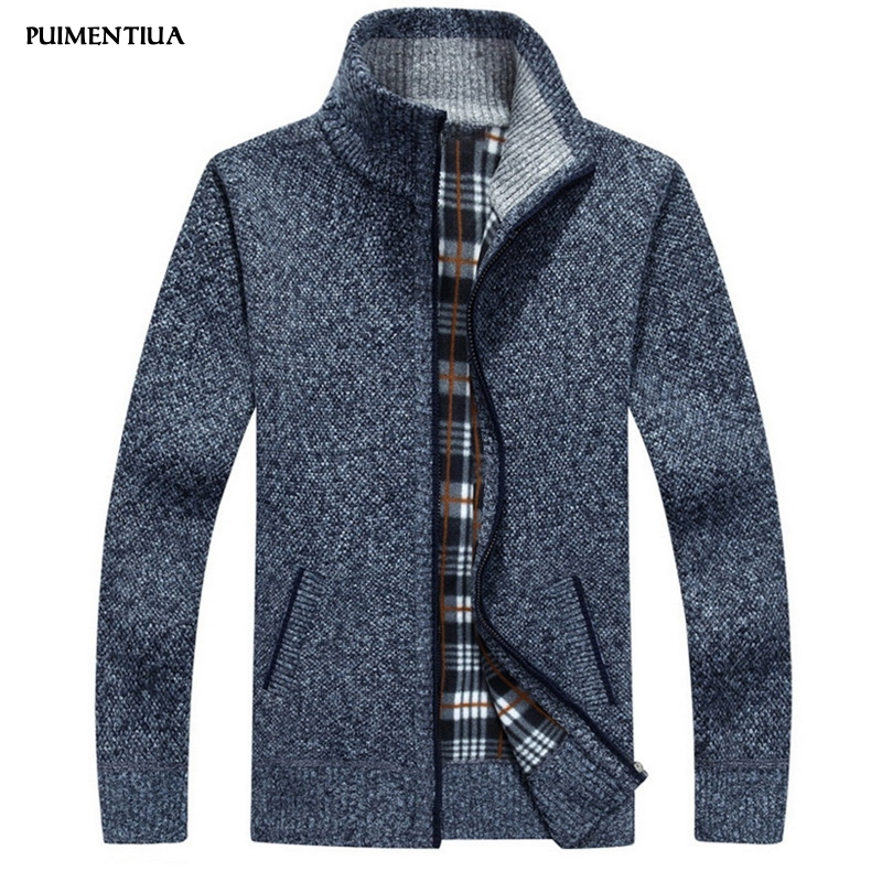 Puimentiua 2019 Men's Knitted Cardigan Zip Solid Thick Sweaters Autumn And Winter Slim Fit Outwear With Long Sleeves Homme