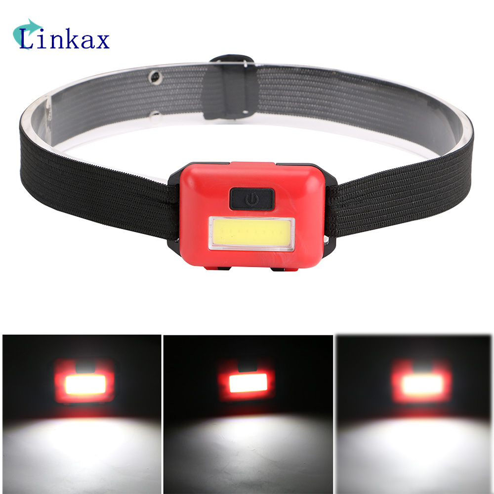 Mini COB LED Headlight Headlamp Head Lamp Flashlight 3xAAA battery Torch Camping Hiking Fishing Light cob led headlamp rechargeable cob headlight white red green lights 18650 battery head torch flashlight for hunting night fishing