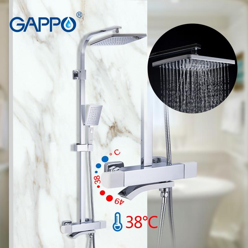 GAPPO conjuntos de chuveiro do banheiro chuveiro torneira misturadora quente e fria termostática chrome torneira da Banheira sistema de chuveiro misturador termostático