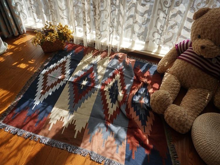 Puro algodão nostalgia Retro Tibet Étnica Arte tapete cobertor fino cobertor tampa de cama quarto sala Toalha de Mesa tapeçaria de Feltros - 2