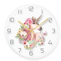 Lovely Unicorn Wall Clock Home Decor Quartz Sweep movement for Girl's Room 30cm12inch Girls Nursery Unicorn and Rainbow Decor