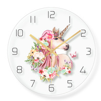 Lovely Unicorn Wall Clock Home Decor Quartz Sweep movement for Girl's Room 30cm12inch Girls Nursery Unicorn and Rainbow Decor