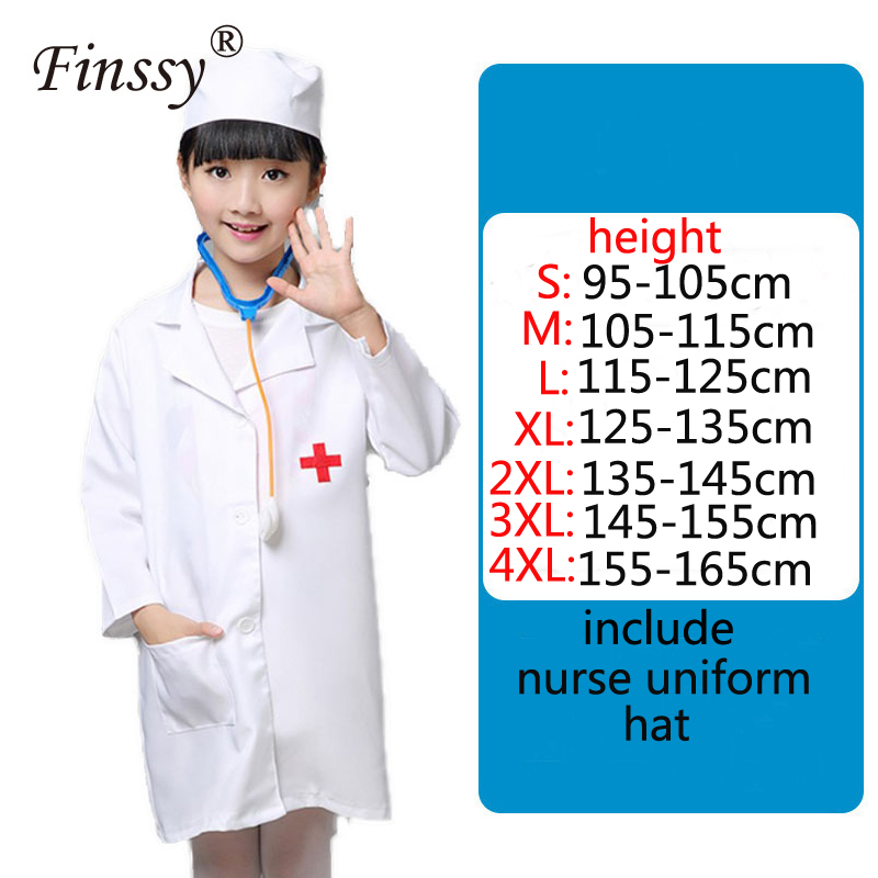 Kids Cosplay Doctors Costume Child Girl Cosplay Nurse Uniform Social Science Laboratory Dedicated Base Protective Clothing