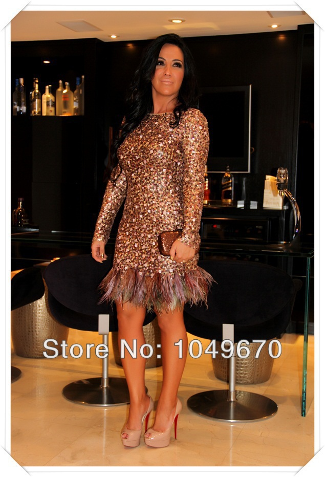 Long sleeve feather prom dress