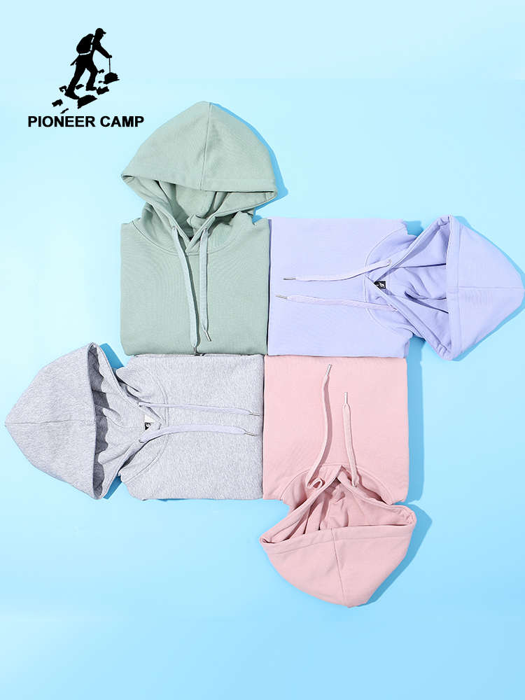 Pioneer Camp Plain Hooides Men Brand Clothing Hooded Sweatshirts Male Cotton Solid Hoody Men's Clothing AWY908048