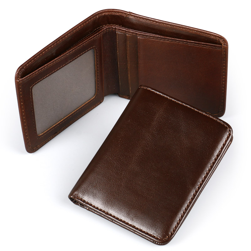 Ruil 2017 new wallet portable retro casual 100% genuine cow Oil wax leather men short wallets coin dollar male small purse wallet