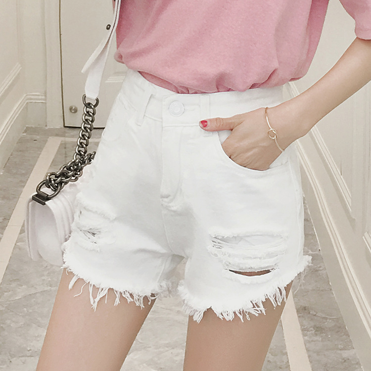 2016 SUMMER STYLE LOOSE FIT HIGH WAIST WOMEN DENIM SHORT JEANS FEMAIL SEXY WOMAN SHORTS WHITE AND BLACK