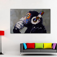 1 Pcs Wall Art Print Canvas Painting Thinking Monkey Headphone Animated Painting Funny Gorilla Pictures For Living Room Unframed