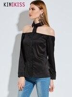 Kinikiss Fashion Office Lady Shirt Women Exposed Back Button Solid Shirt Women Long Sleeve Turn Down
