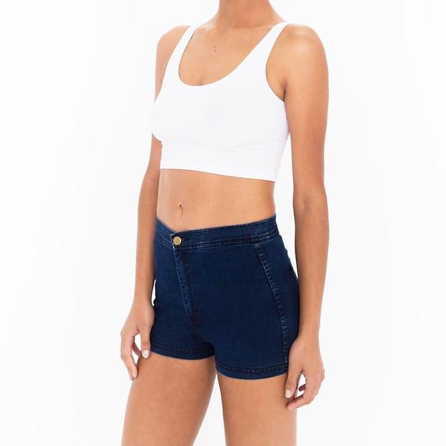 Americano Mujeres Ropa de La Vendimia Inferior Delgado ajustada de Talle Alto Pantalones Cortos de Mezclilla Sexy Shorts AA
