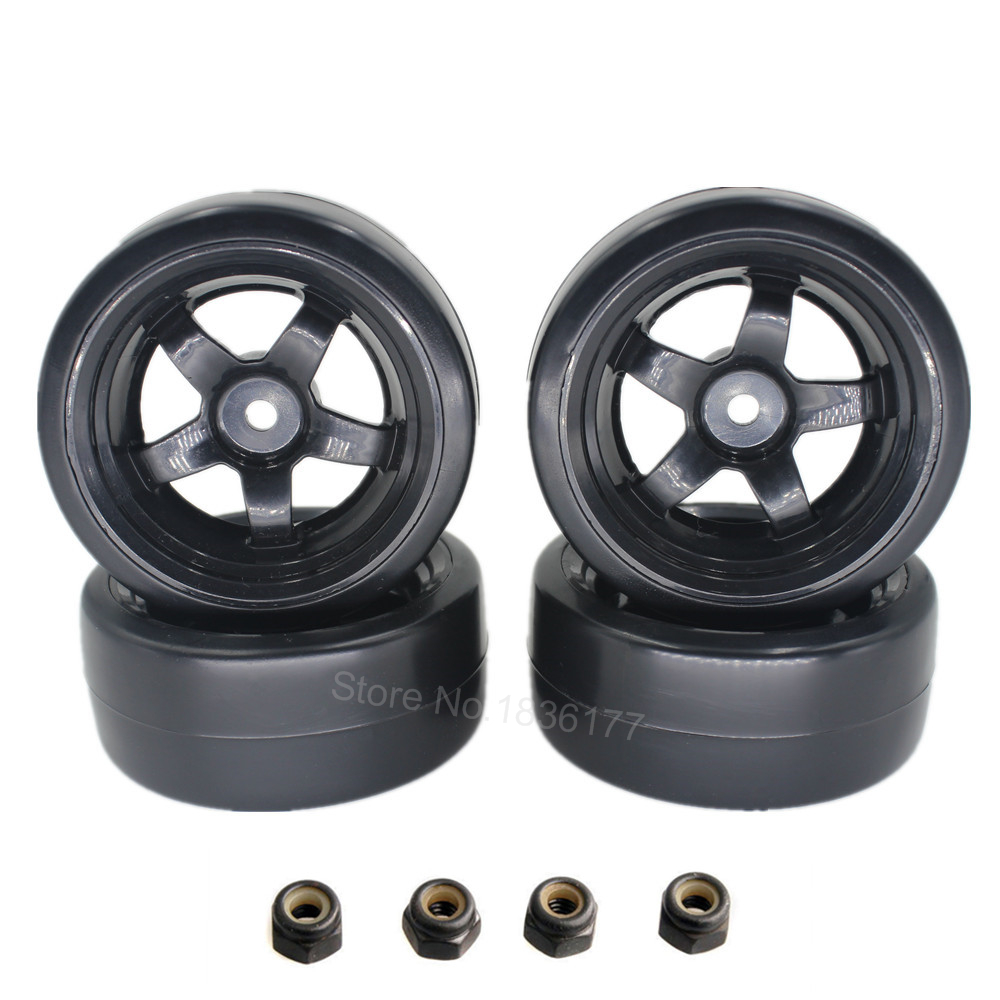 4 Pieces Plastic Smooth RC 1/10 Drift Tires & Rims Wheel 12mm Hub Hex Tire with Lock Nut M4