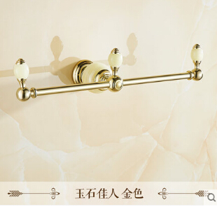 Free Shipping Luxury Golden Towel Rack European Design Towel Bar Wall Mounted Jade Towel Holder bathroom accessories the ivory white european super suction wall mounted gate unique smoke door