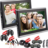 Pair Of Headrests 2 X DVD Player 7 Inch LCD Screen Car Monitor Support IR FM