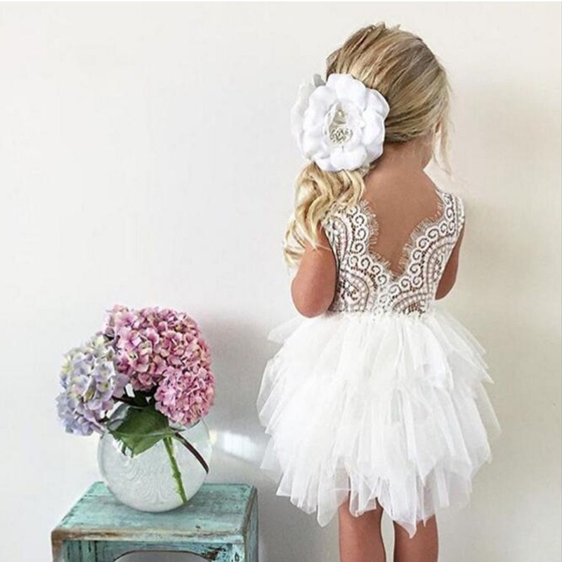 Baby Girls Party Dress Lace Tulle Flower Wedding Gown Fancy Birthday Outfits Children V-back Designs Kids Clothes Casual Wear