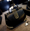 ETN BAG hot sale good quality women fashion handbag female rivet bag doctor style shoulder bag tote lady cross-body bag