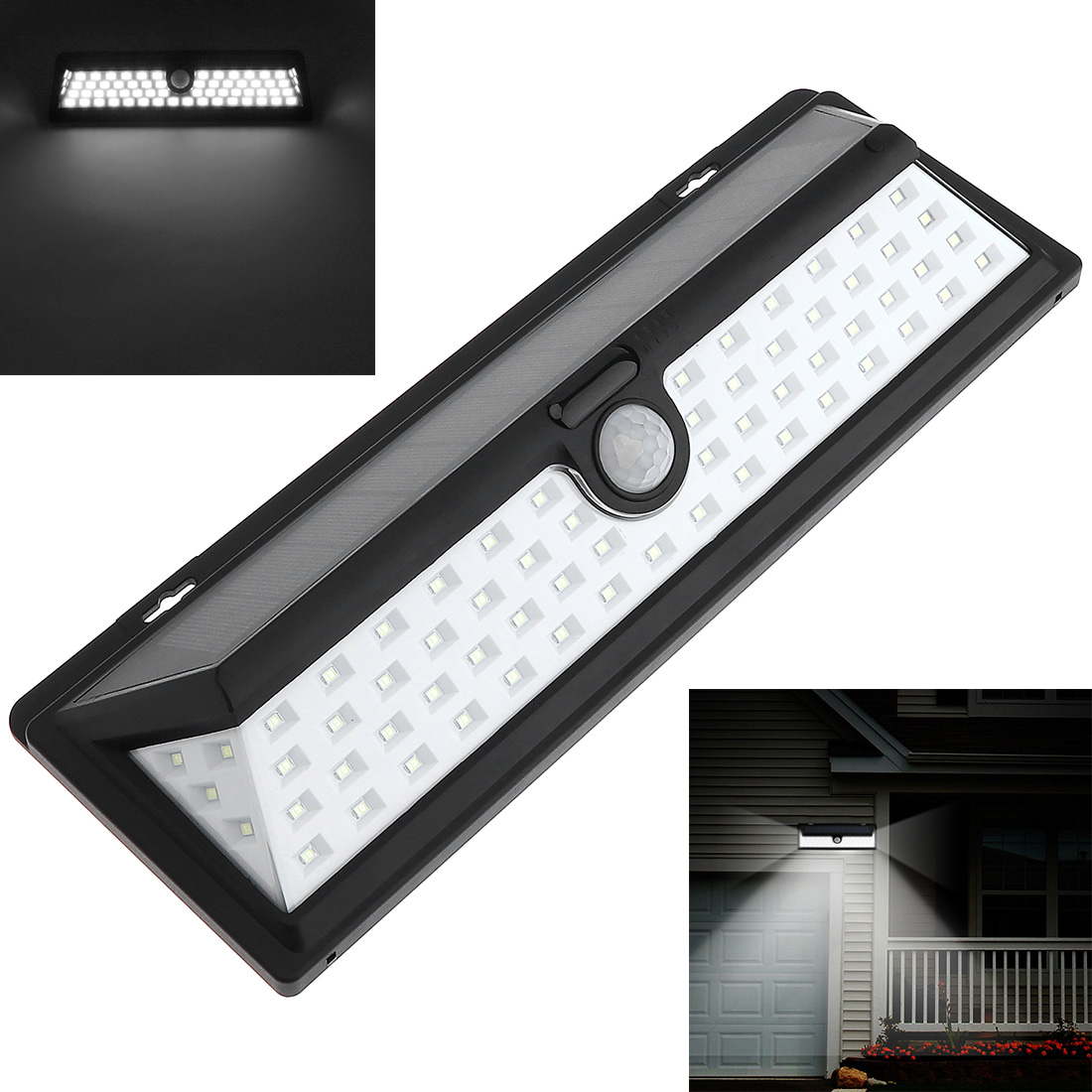 Waterproof IP65 LED Solar Light,66 LED 3800LM Wall Lamp with PIR Motion Sensor for Outdoor/ Garden/ Pathway/ Street цена