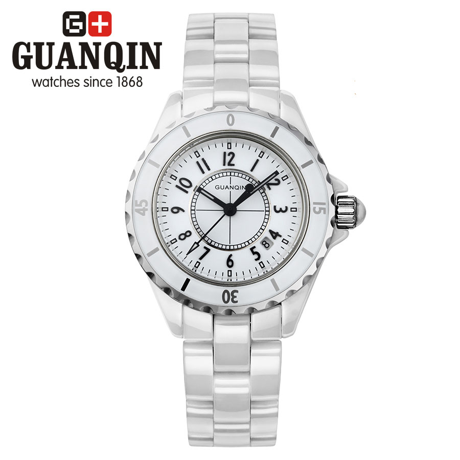 ФОТО GUANQIN GQ90002 J12 watch H0970 Style Dress Ladies Watch Top Brand Luxury Casual Vintage Waterproof Women Ceramic Lovers Watches