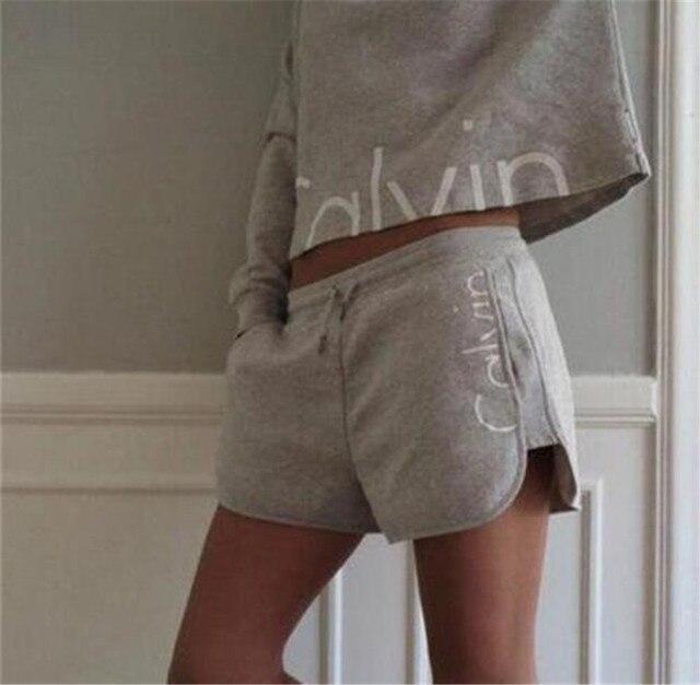 2016 New Autumn Tracksuit Women Hoodies 2-Piece Set Khaki Black Hooded Sweatshirt + Short Pants Leisure Suits Agasalho