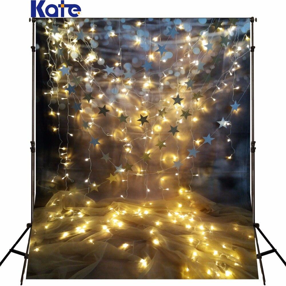 Kate De Mariage Photographie Fond De Noël décors photo Brun Mur Suspendus Étoiles Valentine's Day Toile de Fond Pour La Photographie