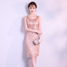 Black Pink Short Stretch Sequins Beading Dresse See-through Sexy Party Dress (China) fbf8d9f2be30