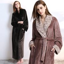 font b Women b font Men fur Neck Thick Warm Long Flannel font b Bathrobe