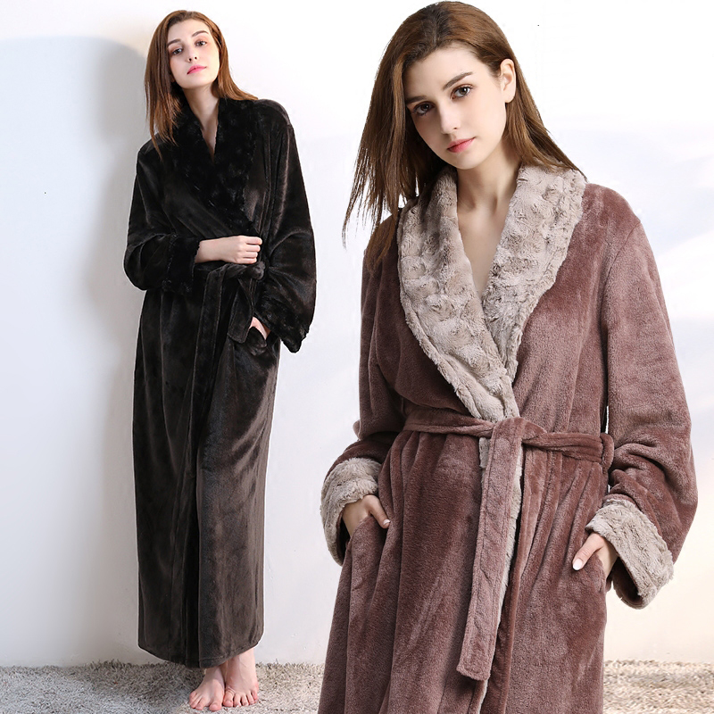 Women Men fur Neck Thick Warm Long Flannel Bathrobe Plus Size Kimono Bath Robe Winter Peignoir Dressing Gown Bridesmaid Robes