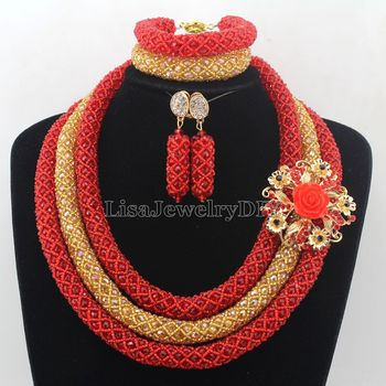 New Latest Fashion Crystal Beads Jewelry Set Costume Nigerian Wedding Indian African Bridal Jewelry Sets Wholesale HD7582