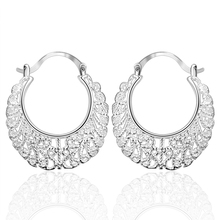 925 sterling silver hollow Weave big U round circle Hoop fine earring for women fashion jewerly factory price