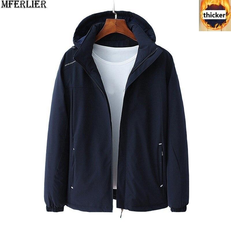 4e3adb1d058 MFERLIER Winter men jackets thick parkas 8XL warm hooded jackets fleece  plus large size big 6XL 7XL man loose outdear coat 130KG