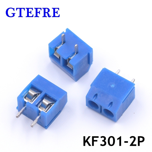 100pcs KF301-2P Blue Plug-in Splice Type KF301-5.0-2P Pitch 5.0mm 2Pin Screw Terminal Block Connector 5.08mm Pitch Splice Type