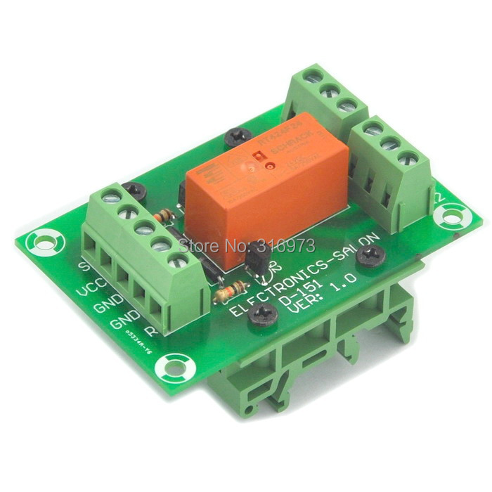 Bistable/Latching DPDT 8 Amp Power Relay Module, DC24V Coil, With DIN Rail Feet