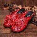 2017 Estilo Étnico Mulheres Couro Genuíno Sapatos Feitos À Mão Flor Desliza sapatos Baixos folk-personalizado do vintage escavar sapatos baixos