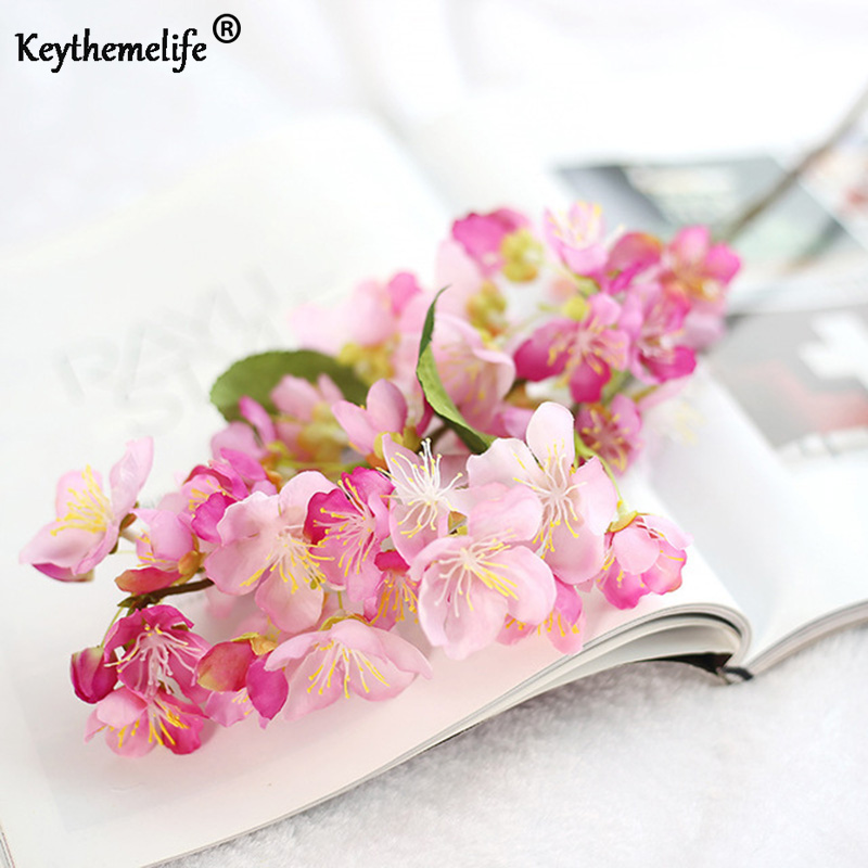 1 unids hoja de flor de cerezo artificial flores de seda flor artificial decoracin de la - Flor Decor