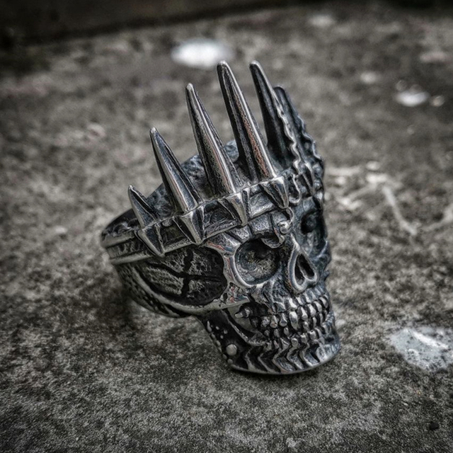 STAINLESS STEEL KING CROWN SKULL RINGS