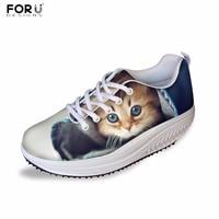 FORUDESIGNS Cute Women Fashion Casual Flats Shoes 3D Animal Cat Printed Women S Health Female Beauty