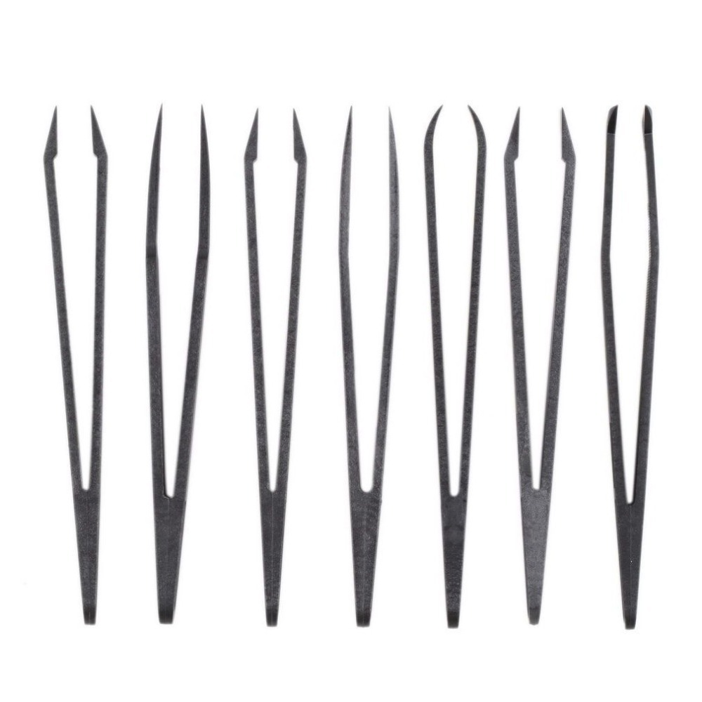 12*1.1*1.4cm Plastic Antistatic Straight Curved Anti-static Conductive Tweezer Clip Carbon Fiber Tweezers Hand Tools