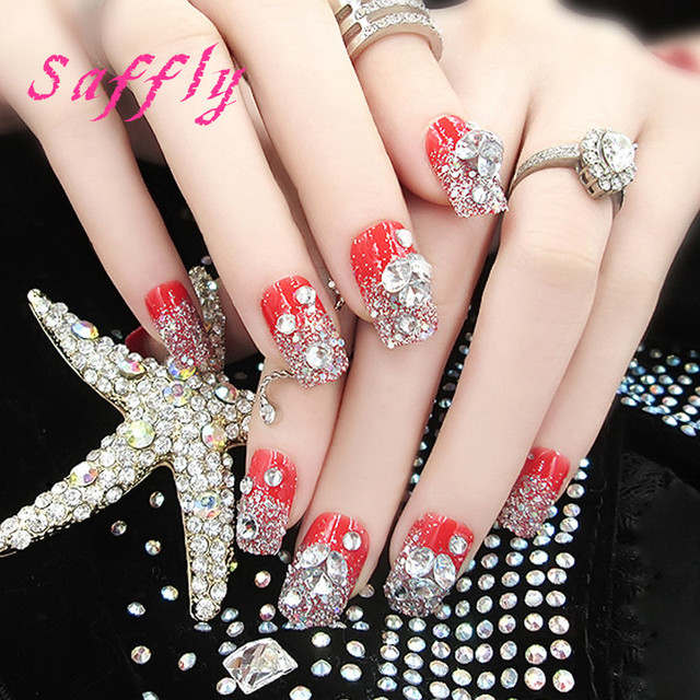 Saffly Free Shipping High End False Nail Drill Plate Fake Nails Red Fashion Blades