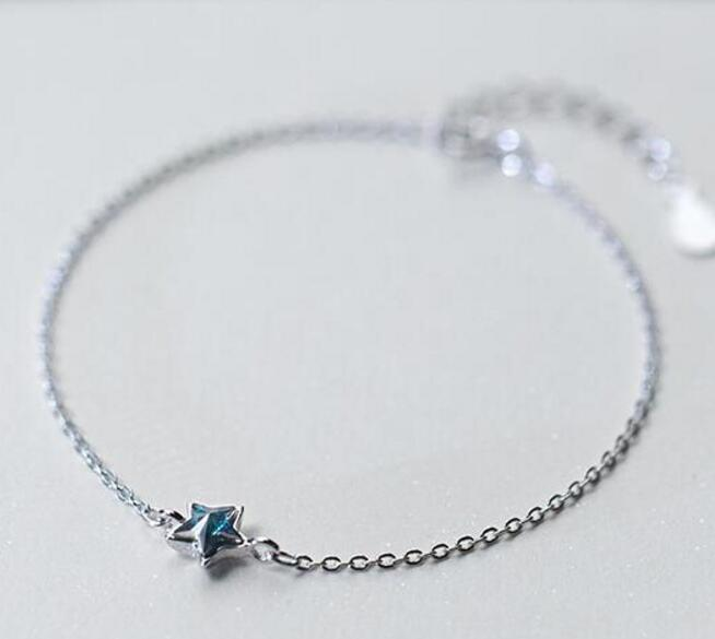 100% Authentische Echt. 925 Sterling Silber Edlen Schmuck Blue Star Kette Armband Gtls694