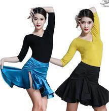 2019 Latin Dance Tops For Women Sexy Dress Costume Samba Tango Skirt Competition Performamnce Salsa Lady