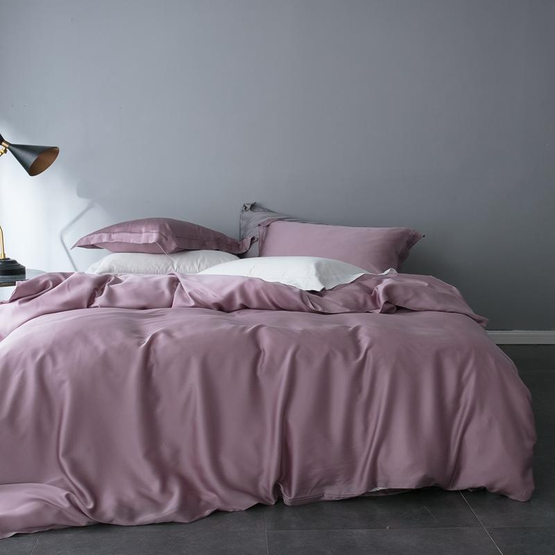 Pink Gray White Tencel Silk Soft Bedding Set Luxury Bed sheet Queen king size Fitted sheet